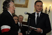 Polish President Andrzej Duda honours participants of the Warsaw Uprising at the Polish Institute aand Sikorski Museum, (PISM) London. - Janina Struk - 2010s,2015,Andrzej Duda,europeregi,Museum,MUSEUMS,POL,Poland,Pole,Poles,Polish,political,POLITICIAN,POLITICIANS,Politics,President,President Duda,public services,service,SERVICES,survivors,UK,Uprising