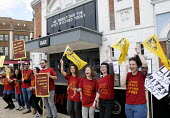 Staff at The Ritzy Cinema in Brixton stage a 24 hour strike in support of their claim to be paid the London Living Wage. On zero hour contracts, they are currently paid less than the living wage hourl... - Stefano Cagnoni - 2010s,2014,BECTU,cinema,claim,dispute,DISPUTES,EARNINGS,EQUALITY,europeregi,female,film,flag,flag flags,flags,Income,INCOMES,INDUSTRIAL DISPUTE,inequality,living wage,London,low pay,Low Income,low pai