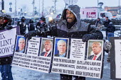 Detroit, Michigan, Republican racism, trades union and community activists opposing Donald Trump outside Republican presidential candidate debate - Jim West - 03-03-2016