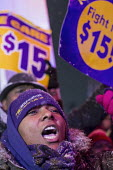 Detroit, Michigan, Fight for $15 minimum wage, trades union and community activists outside Republican presidential candidate debate - Jim West - 03-03-2016