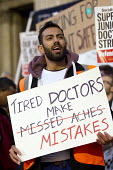 BMA Junior Doctors picket Royal London Hospital against the imposition of a new contract. East London. Tired Doctors Make Mistakes - Jess Hurd - 10-03-2016
