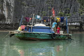 Fishing boat, Ha Long Bay, North Vietnam - David Bacon - 2010s,2015,Asia,asian,asians,asiaregi,bay,boat,boats,boy,boys,child,CHILDHOOD,children,EBF,Economic,Economy,employee,employees,Employment,fish,fisheries,FISHERMAN,fishermen,fishery,FISHES,Fishing,Fish
