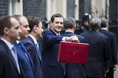 Chancellor George Osborne and Treasury team leaving 11 Downing Street, 2016 Budget, Westminster, London - Jess Hurd - 2010s,2016,Budget Box,CONSERVATIVE,Conservative Party,conservatives,George Osborne,leaving,London,Ministerial Box,POL,POL Politics,political,POLITICIAN,POLITICIANS,Politics,Street,team,Westminster