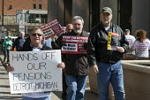 Detroit, Michigan Retired Teamsters protest outside the Federal Building against cuts to their pensions. The Teamsters Pension Fund says cuts of 50% to 60% are necessary to keep the fund solvent - Jim West - 11-03-2016