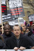 Jeremy Hardy, comedian and Weyman Bennett, UAF. Stand Up to Racism National Demonstration - Refugees Welcome, Stand Up to Racism, Islamaphobia, anti-Semitism and fascism. Central London. - Jess Hurd - 19-03-2016
