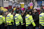 Stand Up to Racism National Demonstration, protesters opposing about 20 Britain First nationalists. Refugees Welcome, Stand Up to Racism, Islamaphobia, anti-Semitism and fascism, London. - Jess Hurd - 19-03-2016