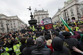 Stand Up to Racism National Demonstration, protesters opposing about 20 Britain First nationalists. Refugees Welcome, Stand Up to Racism, Islamaphobia, anti-Semitism and fascism. Eros, Piccadily Circu... - Jess Hurd - 19-03-2016