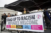 Dave Ward, CWU speaking at a Stand Up to Racism National Demonstration - Refugees Welcome, Stand Up to Racism, Islamaphobia, anti-Semitism and fascism. Central London. - Jess Hurd - 19-03-2016