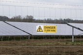 Solar farm, Danger 11.000 Volts sign, Warwickshire - John Harris - 21-03-2016