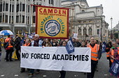 Teachers and supporters protest against Government plans to force every school to turn into an academy. - Stefano Cagnoni - 2010s,2016,Academies,Academy,activist,activists,against,anti,banner,banners,Camden,CAMPAIGN,campaigner,campaigners,CAMPAIGNING,CAMPAIGNS,DEMONSTRATING,demonstration,DEMONSTRATIONS,education,Government