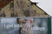 I got into College. Advertisement for a loan to mature students, Easington Lane, Hetton, Tyne and Wear - John Harris - 2010s,2016,achievement,achievements,adult,Adult Education,adults,advertisement,advertisements,advertising,age,ageing population,aspiration,aspirations,bank,banking,banks,billboard,billboards,CELEBRATE