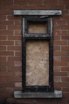 Boarded up window of a burnt out house, Easington Lane, Hetton, Tyne and Wear - John Harris - 24-03-2016