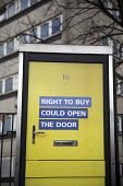 Right to Buy government advertisement encouraging council tenants to buy their homes, side of a telephone box, Aston, Birmingham - Jess Hurd - 27-03-2016