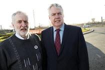 First Minister Carwyn Jones speaking to Jeremy Corbyn outside Tata Steelworks, Port Talbot, Wales - Paul Box - 2010s,2016,Carwyn Jones,FACTORIES,factory,Jeremy Corbyn,Labour Party,Minister,MP,MPs,outside,plant,plants,POL,political,politician,politicians,Politics,Port,ports,SPEAKER,SPEAKERS,speaking,SPEECH,STEE