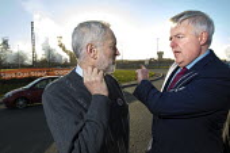 First Minister Carwyn Jones speaking to Jeremy Corbyn outside Tata Steelworks, Port Talbot, Wales - Paul Box - 30-03-2016