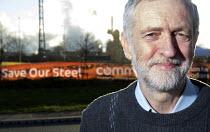 Jeremy Corbyn outside Tata Steelworks, Port Talbot, Wales - Paul Box - 2010s,2016,banner,banners,Community Union,FACTORIES,factory,Jeremy Corbyn,Labour Party,member,member members,members,MP,MPs,outside,people,plant,plants,POL,political,politician,politicians,Politics,Po