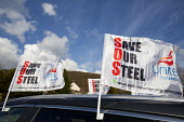 Unite Save our Steel flags, Tata Steel, Port Talbot, Wales - Paul Box - 30-03-2016