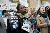 Junior doctors protesting outside the Department of Health on a 48h strike. Organised by the People's Assembly. Westminster, London. - Jess Hurd - 06-04-2016