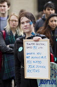 Patient supporting junior doctors protesting outside the Department of Health on a 48h strike. Organised by the People's Assembly. Westminster, London. - Jess Hurd - 06-04-2016