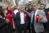 Sadiq Khan, Labour candidate for Mayor of London with party supporters, Kilburn. - Philip Wolmuth - 10-04-2016