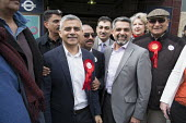 Sadiq Khan, Labour party candidate for Mayor of London, with Councillor Muhammed Butt, leader of Brent Council, Kilburn. - Philip Wolmuth - 10-04-2016