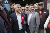 Sadiq Khan, Labour party candidate for Mayor of London, with Councillor Muhammed Butt, leader of Brent Council, Kilburn. - Philip Wolmuth - 2010s,2016,Asian,Asians,BAME,BAMEs,Black,BME,bmes,campaign,campaigning,CAMPAIGNS,candidate,candidates,cities,City,council,COUNCILER,COUNCILERS,Councillor,COUNCILLORS,democracy,diversity,election,elect