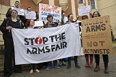DSEI Arms Fair activists outside the trial of those arrested for direct action, Stratford Magistrates Court, East London - Jess Hurd - 15-04-2016