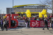 Detroit, USA Fight For 15, Low paid workers protest at a McDonalds restaurant, calling for a 15 minimum wage - Jim West - 14-04-2016