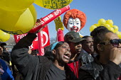 Detroit, USA Fight For 15, Low paid workers protest at a McDonalds restaurant, calling for a 15 minimum wage - Jim West - ,$15,15,2010s,2016,activist,activists,African American,African Americans,against,America,BAME,BAMEs,black,BME,bmes,CAMPAIGN,campaigner,campaigners,CAMPAIGNING,CAMPAIGNS,catering,child carer,child care
