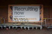 Recruiting Now, B&Q Store, Warickshire - John Harris - 2010s,2015,advertisement,advertisements,advertising,application,applying,banner,banners,career,CAREERS,cart,carts,choice,choices,choosing,communicating,communication,EARNINGS,EBF,Economic,Economy,empl