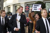Social housing and anti-gentrification campaigners protesting, Annual Property Awards attended by luxury property developers, Grovesnor Hotel, Park Lane. London - Jess Hurd - 19-04-2016