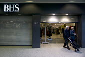 Shutters coming down as elderly customers leave. Closing BHS Store Telford Shopping Centre Shropshire. 11,000 jobs go as Retail Acquisitions put the department store into administration - John Harris - 24-04-2016