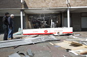 Post office blown up by thieves targeting the cash machine. Shirehampton, Bristol. Post master and Police officer - Paul Box - 26-04-2016