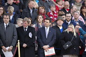 Andy Burnham MP Families and supporters of the 96 victims of the Hillsborough disaster, commemorative vigil, Liverpool - John Harris - 27-04-2016