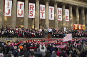Families and supporters of the 96 victims of the Hillsborough disaster, commemorative vigil, Liverpool. Truth, Justice - John Harris - 27-04-2016