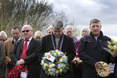 Mick Cash RMT and Joe Cairns NUM with floral tributes, International Workers Memorial Day, memorial tree and plaque, National Memorial Arboretum, Alrewas, Staffordshire - John Harris - 2010s,2016,Cash,COMMEMORATE,COMMEMORATING,commemoration,COMMEMORATIONS,commemorative,floral,flower,flowering,flowers,member,member members,members,Memorial,NUM,people,remember,remembrance,RMT,Trade Un