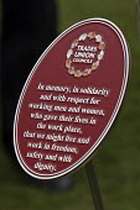 Trades Union Councils Plaque International Workers Memorial Day, memorial tree and plaque, National Memorial Arboretum, Alrewas, Staffordshire - John Harris - 28-04-2016