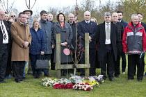 Unite, FBU and RMT, International Workers Memorial Day, memorial tree and plaque, National Memorial Arboretum, Alrewas, Staffordshire - John Harris - 28-04-2016