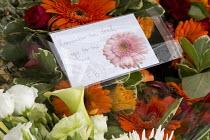 FBU floral tribute, International Workers Memorial Day, memorial tree and plaque, National Memorial Arboretum, Alrewas, Staffordshire - John Harris - 28-04-2016