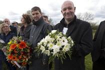 John McGhee FBU and Unite the union International Workers Memorial Day, memorial tree and plaque, National Memorial Arboretum, Alrewas, Staffordshire - John Harris - 28-04-2016
