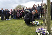 Mick Cash RMT laying a floral tribute, International Workers Memorial Day, memorial tree and plaque, National Memorial Arboretum, Alrewas, Staffordshire - John Harris - 28-04-2016
