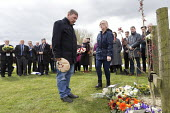 Joe Cairns NUM laying a floral tribute, International Workers Memorial Day, memorial tree and plaque, National Memorial Arboretum, Alrewas, Staffordshire - John Harris - 2010s,2016,age,ageing population,COMMEMORATE,COMMEMORATING,commemoration,COMMEMORATIONS,commemorative,elderly,floral,flower,flowering,flowers,laying,male,man,member,member members,members,Memorial,men