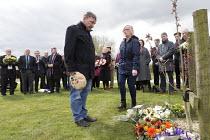 Joe Cairns NUM laying a floral tribute, International Workers Memorial Day, memorial tree and plaque, National Memorial Arboretum, Alrewas, Staffordshire - John Harris - 28-04-2016