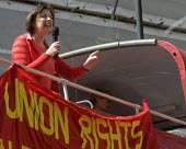 Frances O'Grady, Gen Sec of the TUC speaking, May Day Rally London - Stefano Cagnoni - 2010s,2016,activist,activists,banner,banners,CAMPAIGN,campaigner,campaigners,CAMPAIGNING,CAMPAIGNS,DEMONSTRATING,Demonstration,DEMONSTRATIONS,FEMALE,Frances O'Grady,London,May Day,member,member member