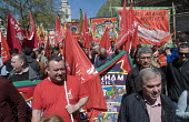 UNITE trade union members at the front of the demonstraton May Day Rally London - Stefano Cagnoni - 01-05-2016