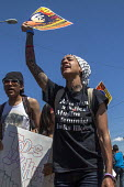 California, May Day march of trades unions, community and immigrant rights organizations, Fruitvale East Oakland. This is what a muslim feminist looks like t-shirt - David Bacon - 01-05-2016