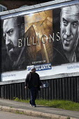Advert for Billions a high finance drama whilst the economic gap between the rich and poor continues to widen, Cashs Lane Coventry Sky Atlantic TV channel - John Harris - 2010s,2016,ACE,advertisement,advertisements,advertising,AFFLUENCE,AFFLUENT,Asian,Asians,BAME,BAMEs,BANK,banker,bankers,banking,BANKS,billionaire,billionaires,Black,BME,bmes,Bourgeoisie,businessman,bus