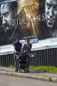 Advert for Billions a high finance drama whilst the economic gap between the rich and poor continues to widen, Cashs Lane Coventry Sky Atlantic TV channel - John Harris - 05-05-2016