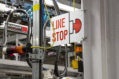 Windsor, Ontario Canada, assembly line emergency stop sign. Car production Fiat Chrysler Automobiles Windsor Assembly Plant where FCA is producing the 2017 Chrysler Pacifica and the Dodge Grand Carava... - Jim West - 06-05-2016