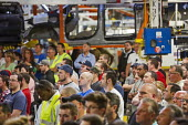 Windsor, Ontario Canada, Workers listening to speeches at the launch of the 2017 Chrysler Pacifica, Fiat Chrysler Automobiles Windsor Assembly Plant. They are members of Unifor, the largest private se... - Jim West - 06-05-2016